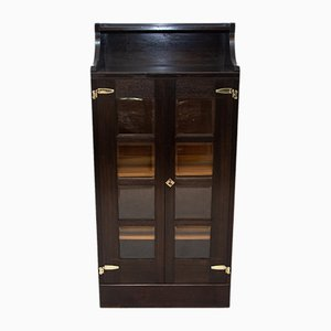 Antique Viennese Oak Secession Library Cabinet