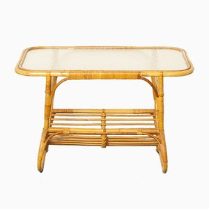 Rattan & Glass Coffee Table from Rohé Noordwolde, 1950s