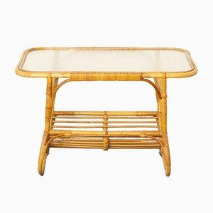 Table Basse en Verre et Rotin de Rohé Noordwolde, 1950s