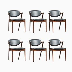 Modell 42 Esszimmerstühle aus Palisander von Kai Kristiansen für Schou Andersen, 1950er, 6er Set