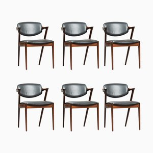 Rosewood Model 42 Dining Chairs by Kai Kristiansen for Schou Andersen, 1950s, Set of 6