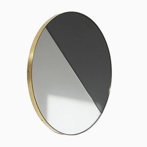 Extra Large Mixed Tint Dualis Orbis Mirror with Brass Frame by Alguacil & Perkoff Ltd.