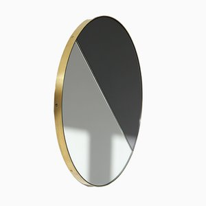 Large Mixed Tint Dualis Orbis Mirror with Brass Frame by Alguacil & Perkoff Ltd.