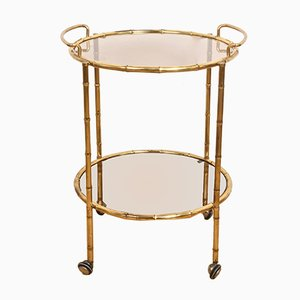 Faux Bamboo Brass Bar Cart from Maison Jansen, 1970s
