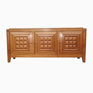 Credenza Art Déco in quercia di Charles Dudouyt, anni '40