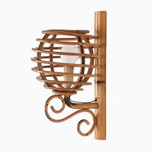 French Rattan Lantern Wall Lamp by Louis Sognot, 1950s
