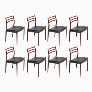 Rosewood Model 78 Chairs by Niels O. Møller for J.L. Møllers, 1954, Set of 8