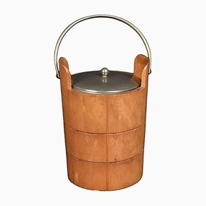 Carved Wood and Metal Ice Bucket by Aldo Tura for Macabo, 1950s