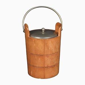 Cubitera de madera tallada y metal de Aldo Tura para Macabo, años 50