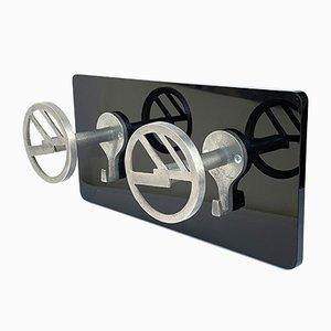 Appendiabiti Art Déco in alluminio e plexiglas, anni '40