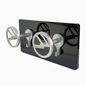 Art Deco Aluminum & Plexiglas Coat Rack, 1940s