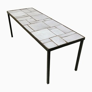 French White Ceramic Coffee Table, 1950s