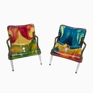 Postmodern Resin Chaos Armchairs by Pepe Tanzi for Biesse, 1987, Set of 2