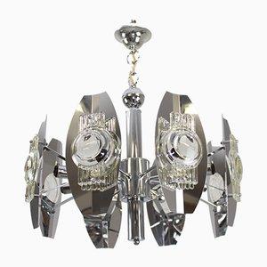 Lámpara de araña cromada de Gaetano Sciolari, años 60