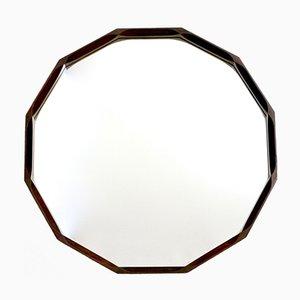 Espejo de pared italiano dodecagonal de palisandro, años 70