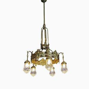 Lámpara de araña austriaca modernista de latón con cinco brazos, años 10