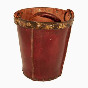 Vintage Maroon Leather Waste Basket