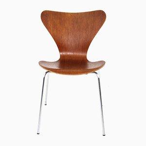 Modell 3107 Stuhl mit Sitz aus Teak von Arne Jacobsen für Fritz Hansen, 1970er