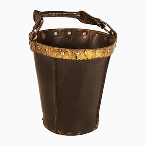 Vintage Black Leather Waste Basket