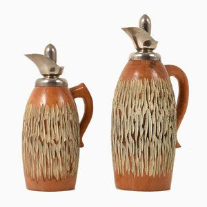 Carved Wood Thermos Bottles by Aldo Tura for Macabo, 1950s, Set of 2