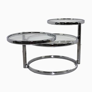 Chrome & Glass Swivel 3-Tier Coffee Table, 1970s