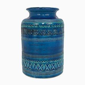 Vaso Rimini in ceramica blu di Aldo Londi per Bitossi Ceramics, anni '60