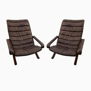 Flex High Back Lounge Chairs by Ingmar Relling for Westnofa, 1970s, Set of 2