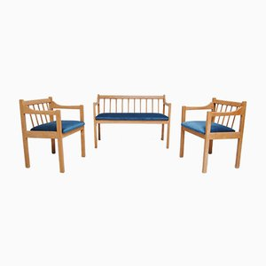 Beech Wood Bench and 2 Chairs, 1980s