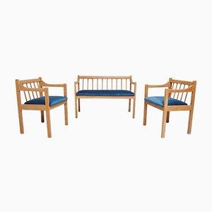 Juego de banco y dos sillas de madera de haya, años 80