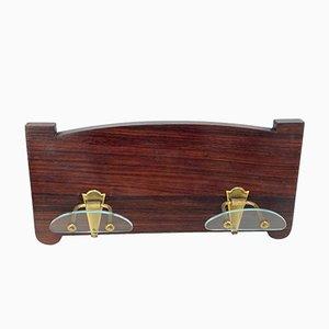 Appendiabiti da parete Art Déco in legno con ganci in ottone e vetro di Fontana Arte