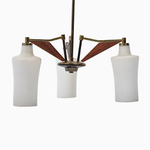 Italian Opaline Glass, Brass & Teak Chandelier from Stilnovo, 1960s