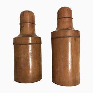Antike italienische Tablettenbehälter aus Buchsbaum, 2er Set