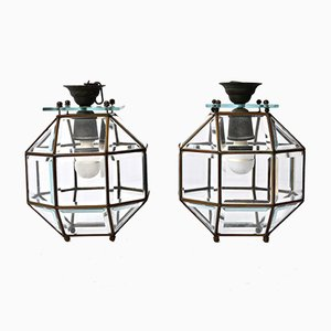 Italian Crystal, Lead & Brass Lantern Pendant Lamps, 1900s, Set of 2