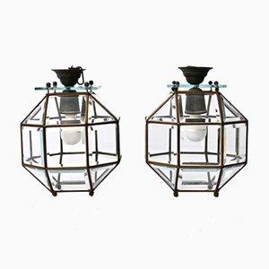 Lámparas colgantes italianas de cristal, bronce y latón, década de 1900. Juego de 2