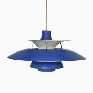 Suspension PH5 Bleue Mid-Century par Poul Henningsen pour Louis Poulsen
