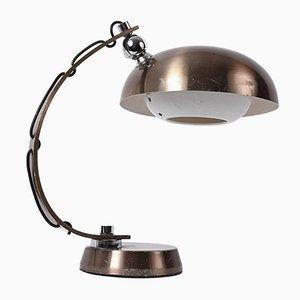 Lampada da tavolo in alluminio spazzolato e bronzato, Italia, anni '70