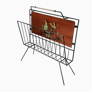 Enameled Iron & Mahogany Magazine Rack, 1950s