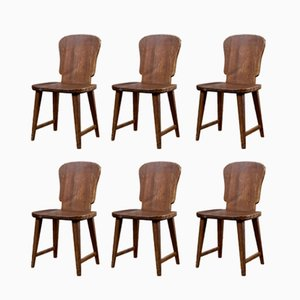Swedish Pine Dining Chairs, 1940s, Set of 6