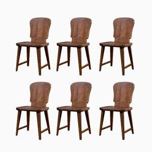 Swedish Pine Dining Chairs, 1940s, Set of 6