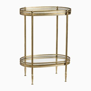Vintage French Brass Oval 2-Tier Side Table, 1960s