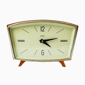 Reloj de mesa vintage de madera, años 60
