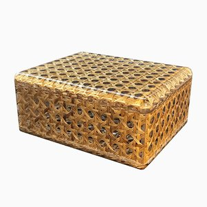 Italian Lucite and Wicker Box, 1970s