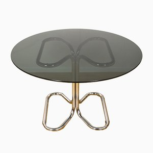 Italian Chrome & Smoked Glass Dining Table by Giotto Stoppino, 1970s