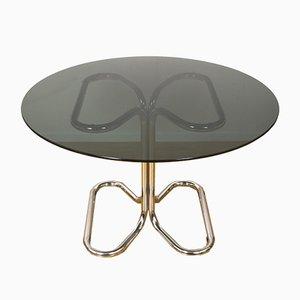 Tavolo da pranzo in metallo cromato e vetro fumé di Giotto Stoppino, Italia, anni '70