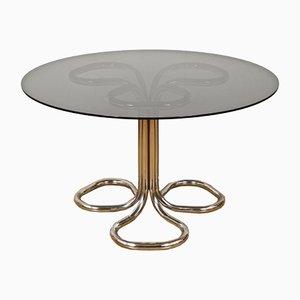 Italienischer Esstisch mit verchromtem Metallgestell & Rauchglasplatte, 1970er
