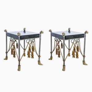 Table d'Appoint Style Hollywood Regency en Marbre Tessellé, 1970s, Set de 2