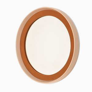 Round Mid-Century Italian Lacquered Wood and Fabric Mirror, 1970s