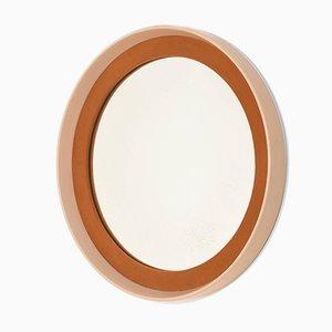 Runder italienischer Mid-Century Spiegel mit Rahmen aus lackiertem Holz & Stoff, 1970er