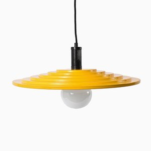 Enameled Metal Yellow Disc Chandelier, 1970s