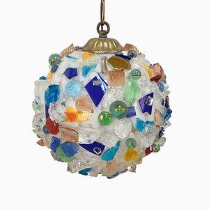 Lampada da soffitto sferica in vetro multicolore, Italia, anni '70